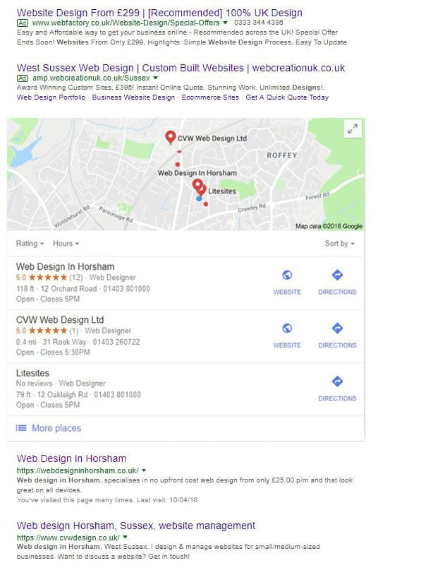Where the Google My Business 3 pack is situated