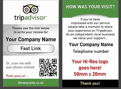 250 TripAdvisor Review Cards