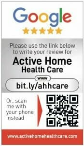 Google my business review card for Active Home Health Care