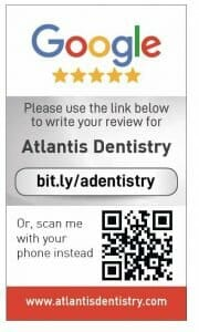 Google my business review card for Atlantis Dentistry