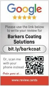 Google my business review card for Barkers Coating