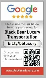 Google my business review card for Black Bear luxury Transportation