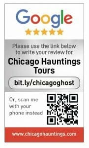Google my business review card for Chicago Haunting