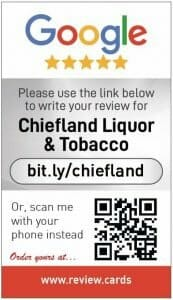 Google my business review card for Chiefland Liquor