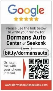 Google my business review Dormans Auto Center card for