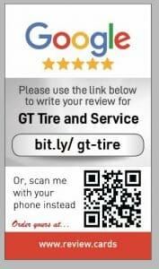 Google my business review card for GT Tyre