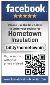 Facebook review cards for Hometown Insulation