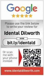 Google my business review card for iDental