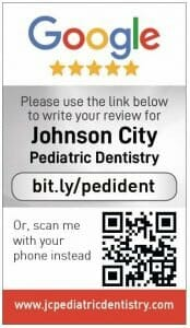 Google my business review card for Johnson City Pediartic Dentistry