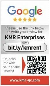 Google my business review card for KMR Entrerprises