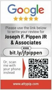 Google my business review card for Joseph F Pippin