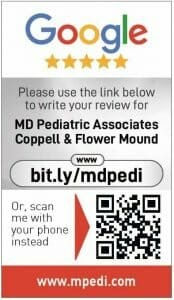 Google my business review card for MD Pediatric