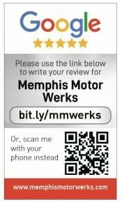 Google my business review card for Memphis Motor works