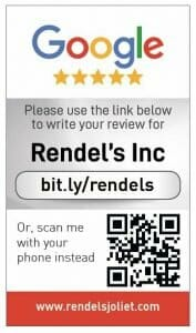 Google my business review card for Rendel's Inc