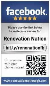 Facebook review cards for Renovation Nation