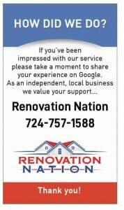 Google my business review card for Renovation Nation