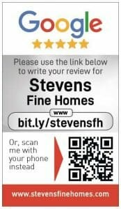 Google my business review card for Stevens fine homes