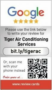 Google my business review card for Tiger Air conditioning