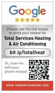 Google my business review card for Total service Heating