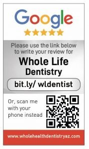 Google my business review card for Whole Life Dentistry
