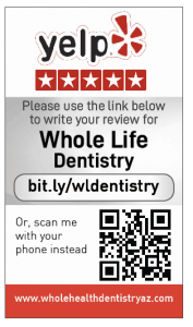 Yelp Review card for Whole Life Dentistry