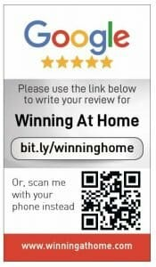 Google my business review card for Winning at Home