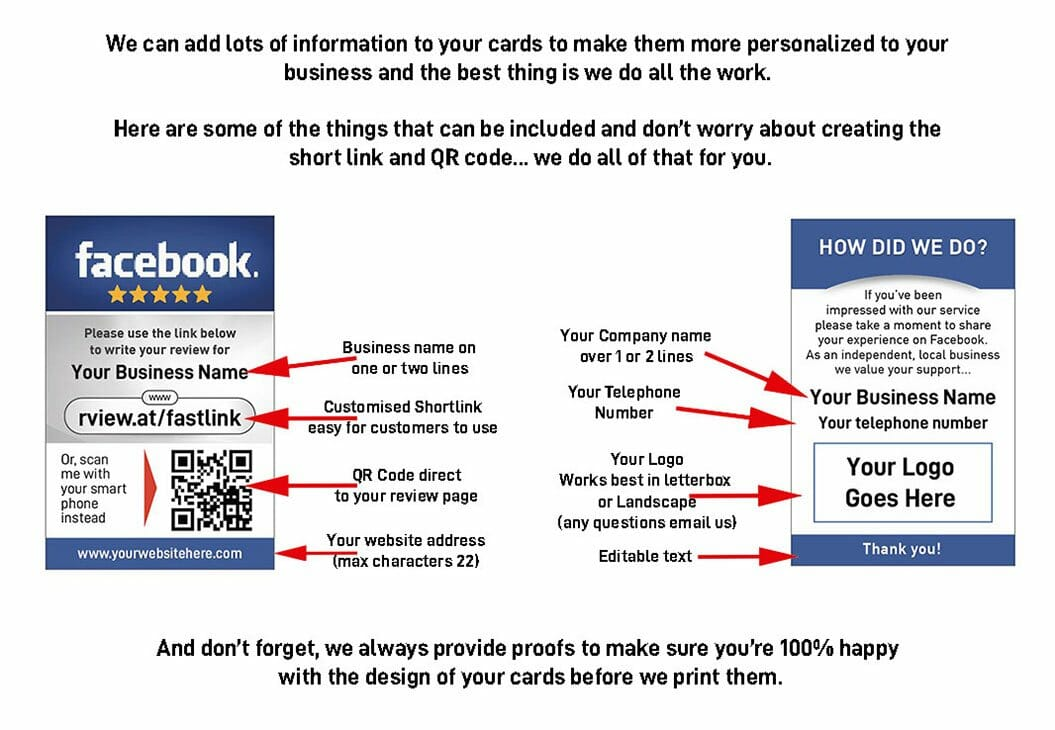 what you can edit on your Facebook review cards