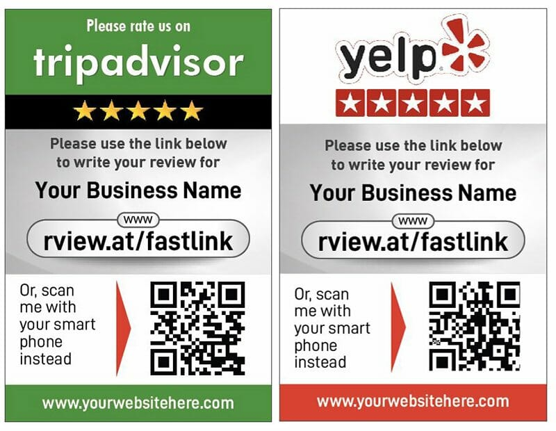 Double the amount of reviews you get on tripadvisor and yelp